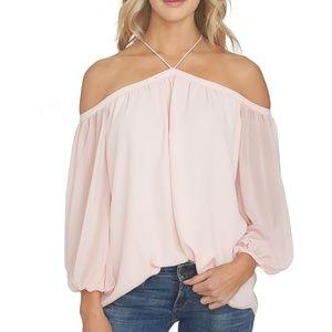 Pink Cold Shoulder Blouse